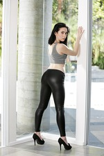 Sexy Skinny Raven Babe Strips Out Her Latex Pants 01