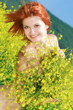 Sexy Redhead Violla Naked On A Flowery Field 11