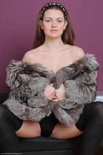 Gorgeous Brunette Girl Odara Spreading In Fur 01