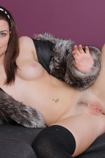 Gorgeous Brunette Girl Odara Spreading In Fur 12