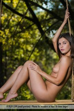 Pretty Brunette Arina Strips To Naked In The Nature 11