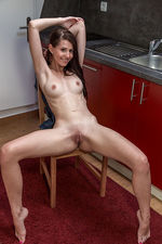 Longhaired Teen Strips In The Kitchen 16