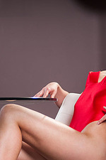 Lynn In Sexy Red Silk Bodysuit 00