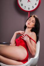 Lynn In Sexy Red Silk Bodysuit 01