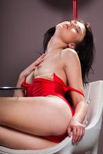 Lynn In Sexy Red Silk Bodysuit 02