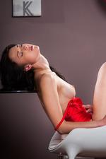 Lynn In Sexy Red Silk Bodysuit 09