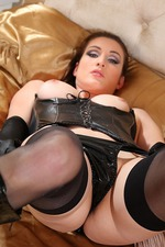 Sexy Babe Avery Poses In Leather Lingerie 07