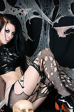 Hot Goth In Fishnet 07