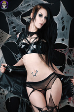 Hot Goth In Fishnet 09