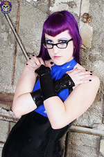 Purple Haired Goth In Latex 01
