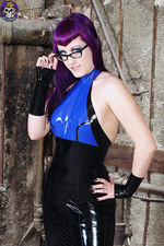 Purple Haired Goth In Latex 10
