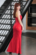 Ivy Snow In Long Red Dress 02