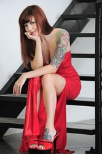 Ivy Snow In Long Red Dress 04