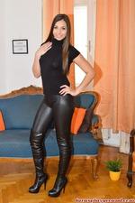 Long Legged Brunette Babe Strips Off Her Sexy Leggings 07