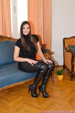 Long Legged Brunette Babe Strips Off Her Sexy Leggings 09