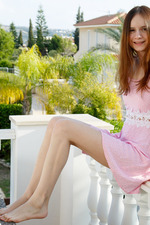 Gorgeous Eiby Shine lives up to her name, radiant in pink as she lounges on the balcony 01