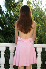 Gorgeous Eiby Shine lives up to her name, radiant in pink as she lounges on the balcony 06