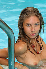 Skinny Hot Brunette Topless In Pool 04