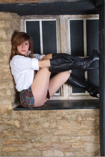 Sexy Schoolgirl In Leather Boots And Gloves 08