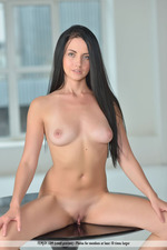 Raven Haired Beauty Mandy Spreading On A Table 09
