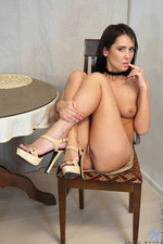 Sporty Brunette Angie Moon Rubbing Shaven Pussy 19