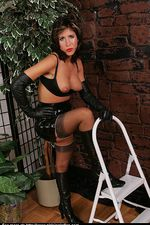 Attractive lady on the ladder in stocking 03