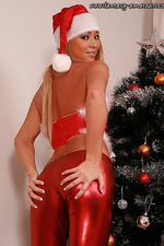 Bitching amateur girl in shiny Santa outfit 02
