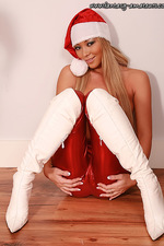 Bitching amateur girl in shiny Santa outfit 06