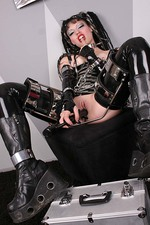 Gothic Girl in Latex with a Big Spiked Dildo 13