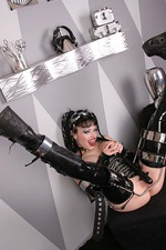 Gothic Girl in Latex with a Big Spiked Dildo 14