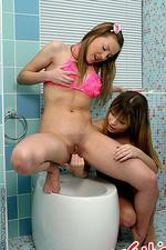 Sexy teen lesbians are anal toying 01