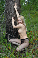 Exotic hottie outside in pantyhose 11