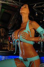 Big boobed babe at the bar in blue 01