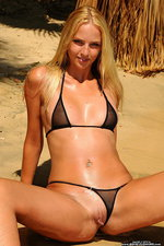 Tiny black bikini on a blondie babe 09