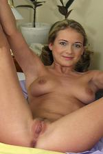 Blonde in pigtails stripping after class 05
