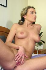 Blonde in pigtails stripping after class 12