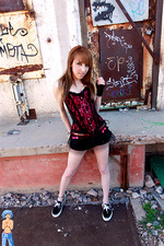 Hot young party girl outside 02