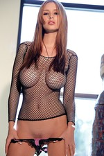 Shay in a fishnet top and pink panties   03