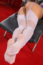 Purple lingerie, white stockings 06