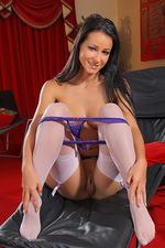 Purple lingerie, white stockings 07