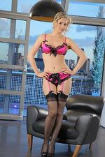 Nikki in pink satin lingerie. 00