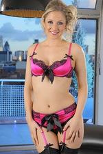 Nikki in pink satin lingerie. 01