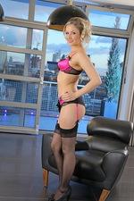 Nikki in pink satin lingerie. 02