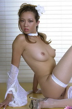Asian in fishnet shows her pussy 06