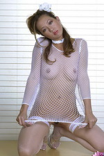Asian in fishnet shows her pussy 08