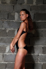 Evginia in front of the wall 03