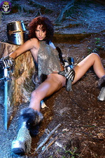 Armed paladin Iveta in hot chainmail 11