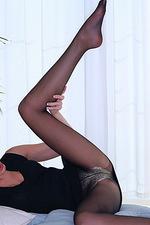 Black Nylons on blonde babe 01
