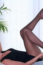 Black Nylons on blonde babe 02