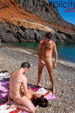 Sharon Lee fucked on beach by 2 cocks 10